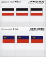 2x3 In Farbe Flaggen-Sticker Liechtenstein+DR 4€ Kennzeichnung Alben Karten Sammlungen LINDNER 628+640 Flag FL III.Reich - Klasseerkaarten