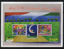 India  2008  Childrens Day  Child Paintings  3v Sovenir Sheet # 62581  Inde Indien - Blocks & Sheetlets