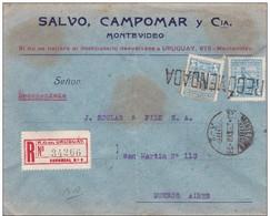 URUGUAY - 1923 - ENVELOPPE RECOMMANDEE De MONTEVIDEO Pour BUENOS AIRES (ARGENTINE) - Uruguay