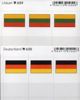 2x3 In Farbe Flaggen-Sticker Deutschland+Litauen 4€ Kennzeichnung Alben Karte Sammlung LINDNER 630+659 Lithuiana Germany - Klasseerkaarten