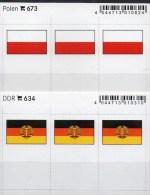 2x3 In Farbe Flaggen-Sticker DDR+Polen 4€ Kennzeichnung Alben Karten Sammlungen LINDNER 634+673 Flag POLSKA East Germany - Klasseerkaarten