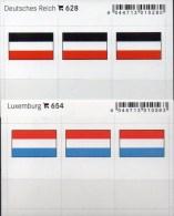 2x3 In Farbe Flaggen-Sticker DR+Luxemburg 4€ Kennzeichnung Alben Karten Sammlung LINDNER 628+654 Flag Luxembourg Germany - Cartes De Classement