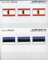 2x3 In Farbe Flaggen-Sticker Estland+Berlin 4€ Kennzeichnung Alben Karten Sammlungen LINDNER 632+645 Flags Eesti Germany - Klasseerkaarten