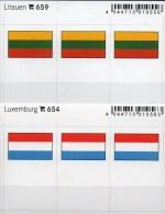 2x3 In Farbe Flaggen-Sticker Litauen+Luxemburg 4€ Kennzeichn. Alben Karten Sammlung LINDNER 654+659 Lithuiana Luxembourg - Klasseerkaarten
