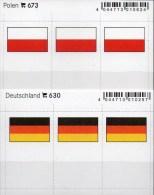 2x3 In Farbe Flaggen-Sticker Polen+BRD 4€ Kennzeichnung Von Alben Karten Sammlungen LINDNER 630+673 Flags Polska Germany - Klasseerkaarten