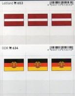 2x3 In Farbe Flaggen-Sticker Lettland+ DDR 4€ Kennzeichnung Alben Karten Sammlungen LINDNER 634+653 Flags LATVIA Germany - Klasseerkaarten