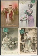 """LOT De 12 Cartes """"BONNE ANNEE"""" - """"HEUREUSE ANNEE"""" (femmes, Hommes Et Couples) - Fantaisies"""