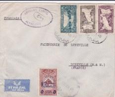 LIBAN - 1946 - ENVELOPPE De BEYROUTH Avec BEL AFFRANCHISSEMENT + TIMBRE FISCAL (RARE SUR LE RECTO) Pour LUNEVILLE - Liban