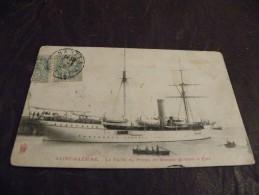 A113..CPA...SAINT NAZAIRE..Le Yacth Du Prince De Monaco Quittant Le Port....rare Beau Plan Animé.ecrite & Voyagée 1906 - Fishing Boats