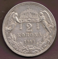 HUNGARY 2 KORONA 1913  ARGENT Silver 0.835 KM# 493 Franz Joseph I - Hongrie
