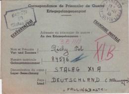 STALAG XI A - Geprüft 13 Noir  - Fallingbostel - Oblitération Paris 1 Novembre 1940 - Guerre De 1939-45