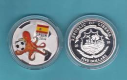 "LIBERIA  5  DOLARES/DOLLARS  2.010 2010 PLATA/SILVER  PROOF  SC/UNC  ""SPAIN-ESPAÑA OCTOPUS 2.010""  DL-9454 - Liberia"