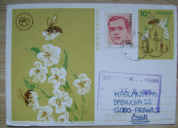 1987 POLAND POLSKA USED POSTAL CARD APIMONDIA BEE BEES - Honeybees