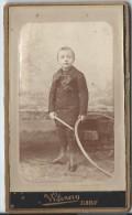 Photo d'Enfant en Pied/ Avec Cerceau / Albert Warnery/Elbeuf/Hutinet/Pa ris/Vers 1885    PH188