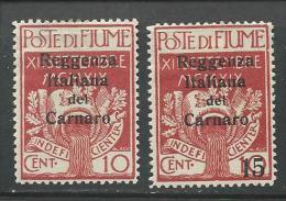 """Fiume  """"1920""""  Scott No. 107-08  (N*) - 8. Ocupación 1ra Guerra"""