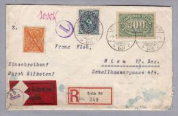 DR 1923-06-09 Berlin 68 Zensur-Exress-R-Brief Nach Wien Geprüft Infla - Allemagne