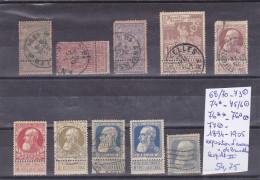 TIMBRES  DE BELGIQUE  Nr 68/70-73-75/6-76a-77-74*-76** Leopold II1894-1905 COTES 54.75€ - 1869-1883 Léopold II