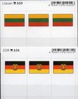 2x3 In Farbe Flaggen-Sticker Litauen+DDR 4€ Kennzeichnung Alben Karten Sammlungen LINDNER 634+659 Flag Lithuiana Germany - Cartes De Classement
