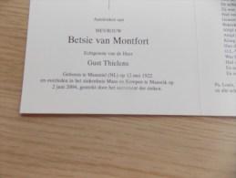 Doodsprentje Betsie Van Montfort Maasniel (NL) 12/5/1922 Maaseik 2/6/2004 ( Gust Thielens ) - Religione & Esoterismo