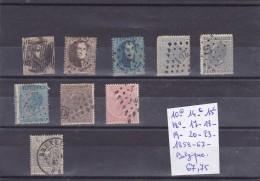 TIMBRES  DE BELGIQUE  Nr 10 -14C- 15C -18A-17/20-23 -OBL 1858-67 COTES 67.75€ - Belgique