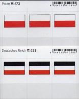 2x3 In Farbe Flaggen-Sticker Polen+Deutschland 4€ Kennzeichnung Alben Karte Sammlung LINDNER 628+673 Flag Polska Germany - Klasseerkaarten