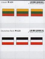 2x3 In Farbe Flaggen-Sticker Litauen+DR 4€ Kennzeichnung Alben Karten Sammlungen LINDNER 628+659 Flags Lithuiana Germany - Klasseerkaarten