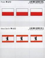 2x3 In Farbe Flaggen-Sticker Polen+Westberlin 4€ Kennzeichnung Alben Karten Sammlung LINDNER 632+673 Flag Polska Germany - Klasseerkaarten