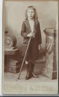Photo de jeune gar�on ( fille ?)/en Pied/ Avec B�ton et bottinesr/F. HURLEY/Caudebec les Elbeuf/Vers 1885   PH190