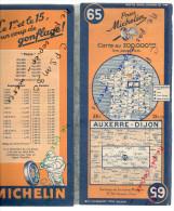 CARTE GEOGRAPHIQUE Michelin - N° 65 - AUXERRE - DIJON 1946 - Roadmaps
