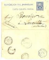 LINT2 - PARAGUAY - EP CL VILLELA / LA VOULTE (ARDECHE) MARS 1892 PAR BS.AIRES ET LIGNE J N°5 - Paraguay