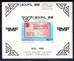 Mexico MNH Scott #1385 Souvenir Sheet 90p Mexico #111 On Cover - MEXFIL 85 - Mexique