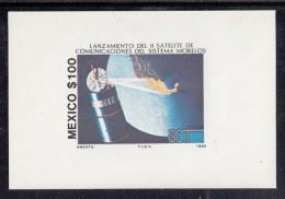 Mexico MNH Scott #1423 Souvenir Sheet 100p Morelos And Telecommunications Satellite Launch - Mexique