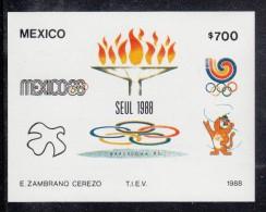 Mexico MNH Scott #1555 Souvenir Sheet 700p Olympic Emblems, Torch - 1988 Summer Olympics, Seoul - Mexique