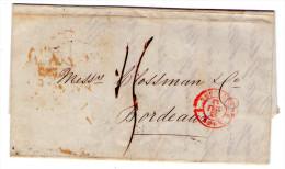 """Lac De Liverpool Por Bordeaux - 1844 - Cachet D´entrée  """" ANGL. BOULOGNE """"  3 Scan"""