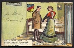 CPA  PRECURSEUR- FRANCE- HUMOUR CONTRE LA LUMIERE EN 1900 AVEC TEXTE- ECUSSON-  BELLE SCENE GROS PLAN- - Halt Gegen Das Licht/Durchscheink.