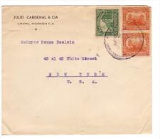 NICARAGUA 1917 Cover  Da Leon A New York  Un Centavo + Dos Centavo - Nicaragua