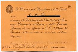PARTECIPAZIONE PREMIAZIONE VINCITORI CONCORSO NAZIONALE DEL GRANO E AZIENDA AGRARIA TEATRO ARGENTINA ROMA ANNO 1936 - Faire-part