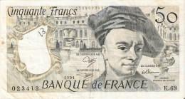 BILLETE DE FRANCIA DE 50 FRANCOS DE QUENTIN DE LA TOUR DEL AÑO 1991 (BANKNOTE) - 1962-1997 ''Francs''