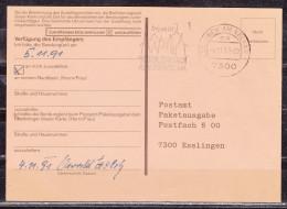 Benachrichtigungsschein Paketzustellung, Innerhalb Esslingen 1991 (16658) - BRD