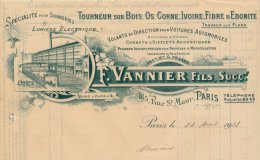 """Facture Illustrée """"  F.VANNIER Fils """" Tourneur Sur Bois,os,corne,ivoire,fibre Et ébonite,165 Rue St Maur Paris - France"""