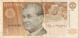 BILLETE DE ESTONIA DE 5 KROONI DEL AÑO 1992 (BANK NOTE) - Estonia