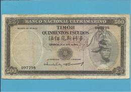 TIMOR - 500 ESCUDOS - 25.4.1963 - P 29 - Sign. 9 - REGULO D. ALEIXO - PORTUGAL - Timor