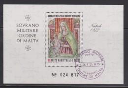 SMOM Sovereign Military Order Of Malta Mi Block 11 Christmas - Peruggino - St. Mary - Jesus Child - 1977 - Malta (Orde Van)
