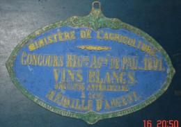Plaque Concours Reg Agricole De PAU 1891.Vins Blancs Medaille ARGENT.A.GRILLOT,Fondeur.Rue Oberkampf,Paris - Plaques Publicitaires
