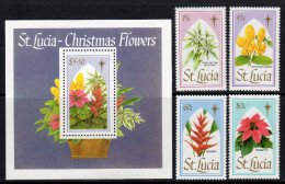 ST.LUCIA. 1988 CHRISTMAS FLOWERS SET & SHEET MNH. - St.Lucia (1979-...)