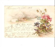 ARPENANS  24 OCTOBRE 1904-PAYSAGE DE NEIGE-BOUQUET DE FLEURS- - Frankreich