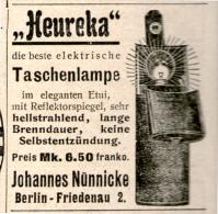 Original-Werbung/Inserat/ Anzeige 1902 :  HEUREKA-TASCHENLAMPE Ca 45 X 50 Mm - Publicités