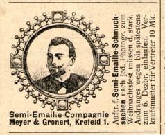 Original-Werbung/Inserat/ Anzeige 1902 : SEMI-EMAILLE SCHMUCKSACHEN / MEYER & GRONERT KREFELD Ca 40 X 50 Mm - Werbung