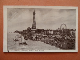32534 PC: LANCASHIRE:  BLACKPOOL. CENTRAL BEACH AND TOWER And Also Showing The BIG WHEEL. - Blackpool