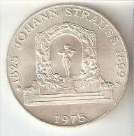 MONEDA DE PLATA DE AUSTRIA DE 100 SHILLING DEL AÑO 1975 DE JOHANN STRAUSS (COIN) SILVER - ARGENT. - Austria